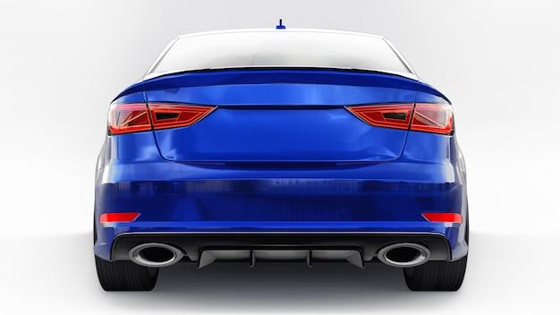 Super szybki samochód sportowy kolor niebieski metalik na białym tle kształt nadwozia sedan