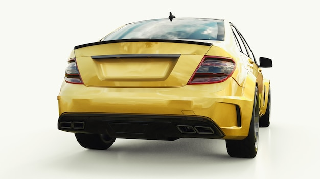 Super szybki samochód sportowy kolor złoty metalik na białym tle. sedan w kształcie nadwozia. tuning to wersja zwykłego samochodu rodzinnego. renderowania 3d.