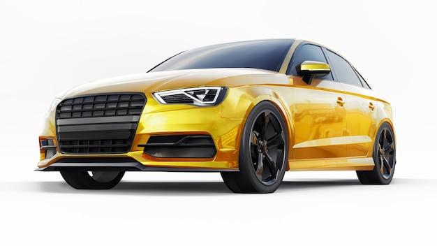 Super szybki samochód sportowy żółty kolor na białym tle. sedan w kształcie nadwozia. tuning to wersja zwykłego samochodu rodzinnego. ilustracja 3d.