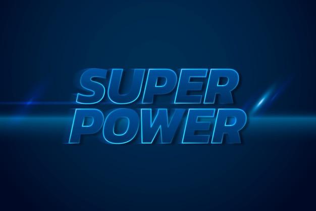 Supermocarstwo 3d neonowa niebieska ilustracja typografii tekstu