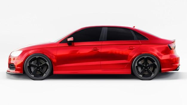 Superszybki samochód sportowy w kolorze czerwonym metalik na białej powierzchni