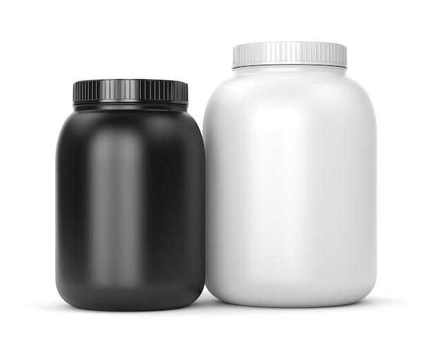 Suplementy kulturystyczne: puszki białka lub proszku gainer na białym tle isolated