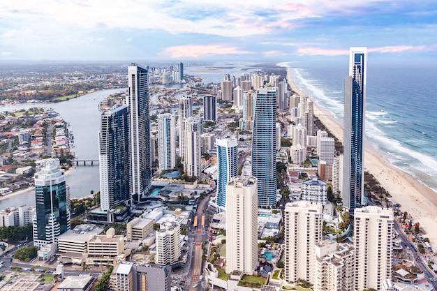Surfers paradise wysoki wzrost panoramę w gold coast, queensland, australia