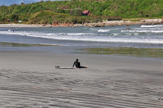Surfingowiec na zachodnim wybrzeżu na południowej wyspie, nowa zelandia