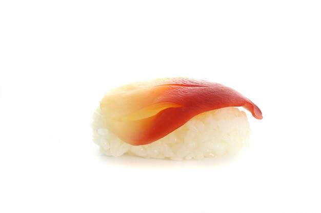 Surfuj sushi z małżami na białym tle w kolorze białym