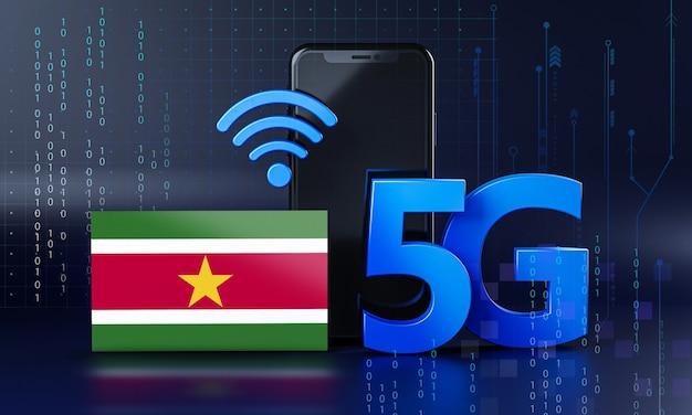 Surinam gotowy do koncepcji połączenia 5g. renderowania 3d technologia smartphone tło