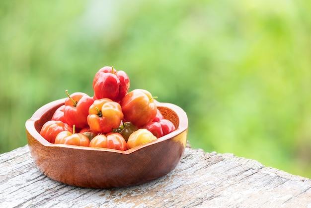 Surinam wiśniowe owoce na naturalnym tle.