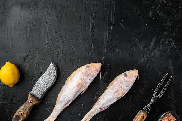 Surowa barwena czerwona lub sultanka świeży zestaw całych ryb, ze składnikami i ziołami, na tle czarnego ciemnego kamiennego stołu, widok z góry płasko leżący, z miejscem na kopię dla tekstu