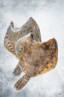Surowa płastuga flądra cała ryba na stole w kuchni