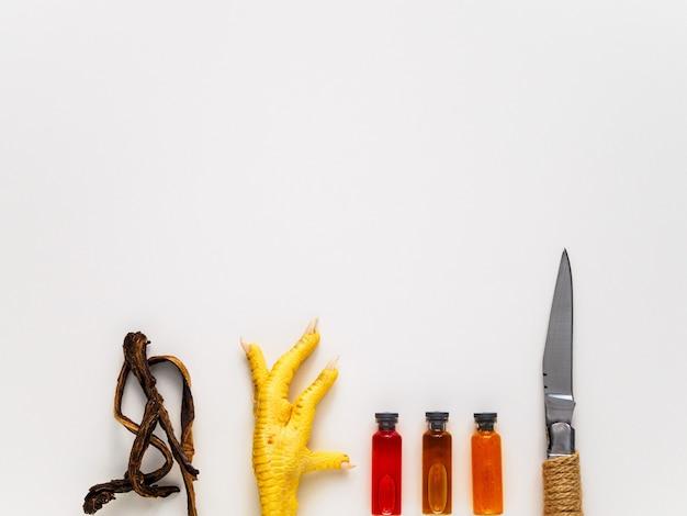 Surowa stopa kurczaka, nóż, korzenie i ampułki z eliksirami dla okultyzmu. przedmioty do magii i wróżenia na białym tle. lokalizacja tekstu.