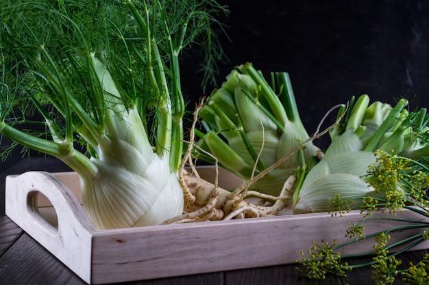 Surowe cebule kopru włoskiego z zielonymi łodygami i liśćmi, kwiatami kopru włoskiego i korzeniem gotowe do gotowania na ciemnym drewnianym stole