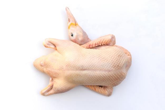 Surowe kaczki na białym tle na białym tle, świeże mięso kaczki na drewnianej tacy na żywność, cała kaczka
