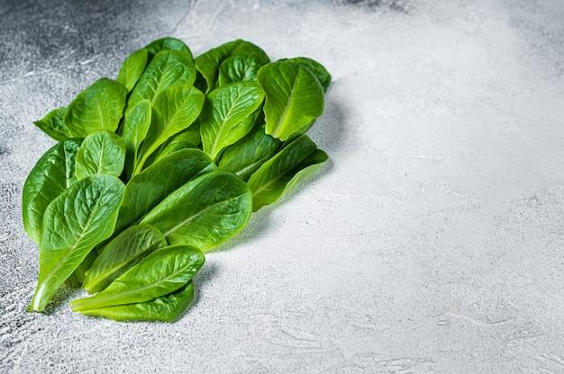 Surowe liście sałaty rzymskiej na kuchennym stole. białe tło. widok z góry. skopiuj miejsce.