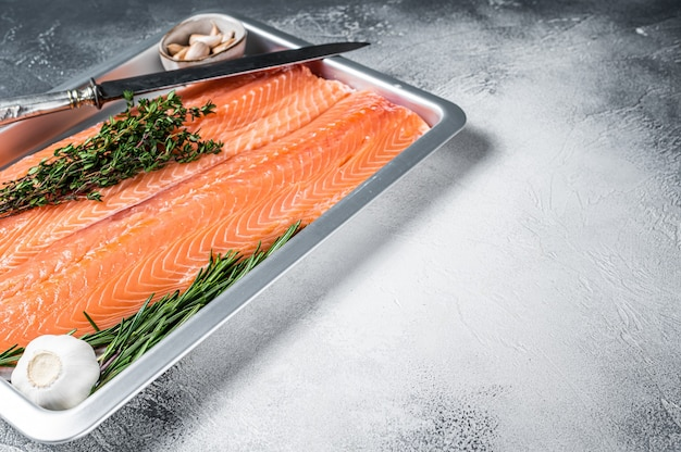 Surowe niegotowane filety z łososia morskiego na tacy kuchennej z ziołami. białe tło. widok z góry. skopiuj miejsce.
