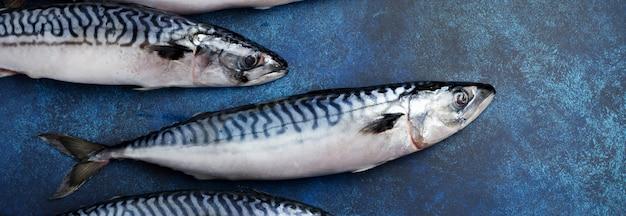 Surowe ryby makreli ze składnikami do gotowania na niebieskim tle betonu lub kamienia. selektywne skupienie. widok z góry.