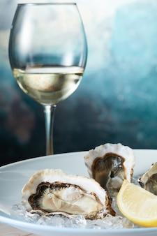 Surowe świeże ostrygi z cytryną w białym talerzu z winem - styl owoców morza