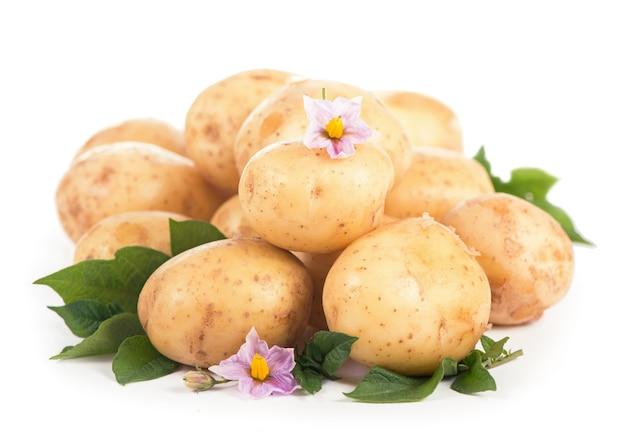 Surowe ziemniaki z kwiatami i liśćmi na białym tle na białej powierzchni