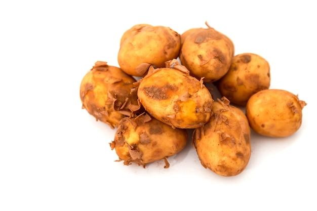 Surowe ziemniaki żywią się na odosobnionym. świeże ziemniaki na białym izolacyjnym tle. wczesne zbiory. niemyte warzywa. selektywne skupienie. pojęcie umiejętności kulinarnych. miejsce na napis lub logo