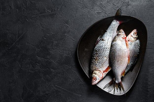 Surowy crucian karp na czarnym talerzu. ryby ekologiczne rzeczne. widok z góry. tło lato