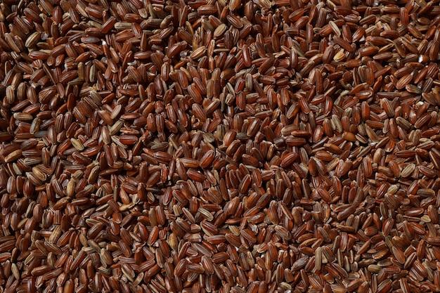 Surowy czerwony niepolerowany ryż jako tło ziarna rubinu zbliżenie bhutański niegotowany organiczny brązowy ryż na...