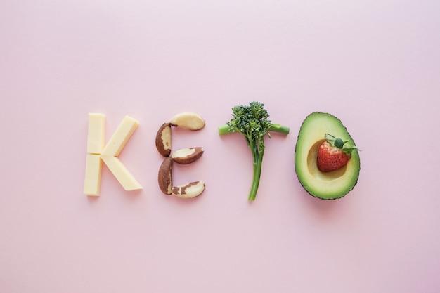 Surowy jedzenie tworzy słowa keto