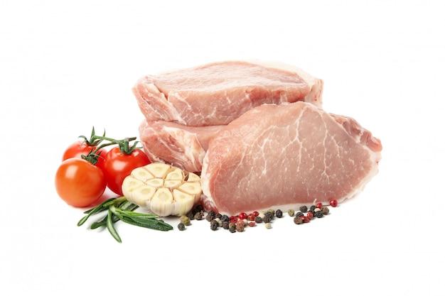 Surowy mięso dla stku i składników odizolowywających
