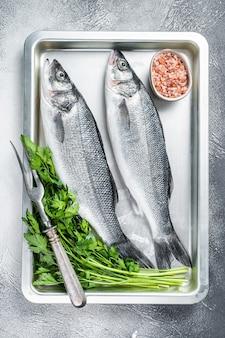 Surowy okoń morski lub okoń morski w naczyniu do pieczenia. białe tło. widok z góry.