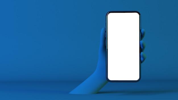 Surrealistyczna ręka trzyma niebieski mobile