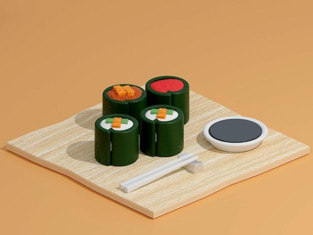 Sushi i bułki na drewnianej desce do krojenia z japońskimi pałeczkami na tle renderowania 3d