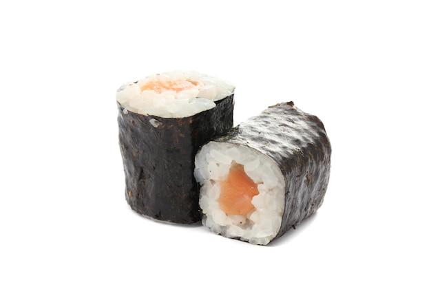 Sushi maki łososia na białym tle w kolorze białym