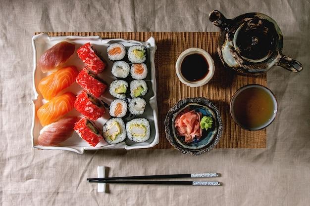 Sushi set nigiri and sushi rolls