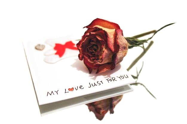 Suszona róża i romantyczna pocztówka odbita w lustrze na białym tle