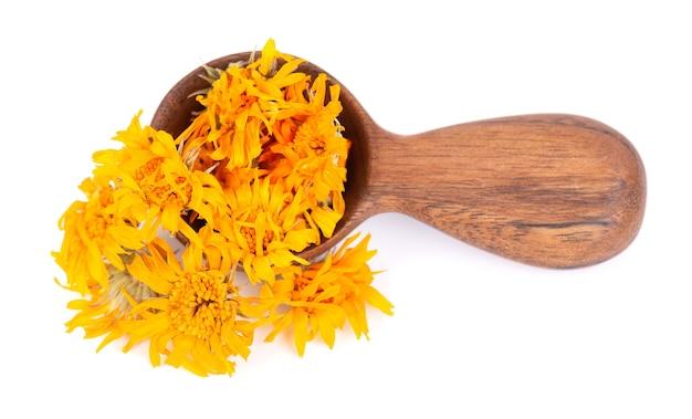 Suszone kwiaty nagietka w drewnianą łyżką, na białym tle. płatki nagietka lekarskiego. zioła medyczne.