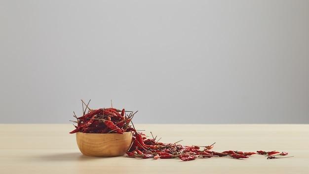 Suszone papryczki chili w drewnianej misce umieszczonej na drewnianym stole i białej ścianie na miejsce na tekst