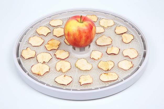 Suszone plasterki jabłka na tacach specjalnej elektrycznej suszarki do owoców