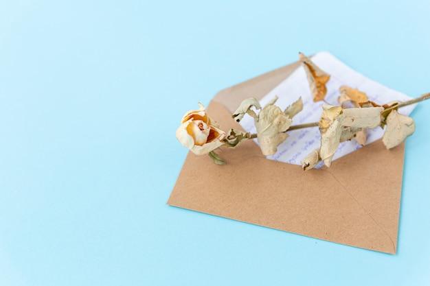 Suszony kwiat róży na liście w kopercie na niebieskim tle, romantyczne przesłanie, wyznanie miłości.