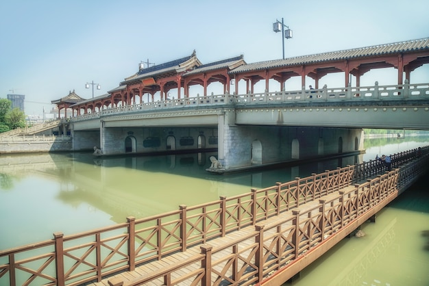 Suzhou fosa starożytnego mostu krajobraz