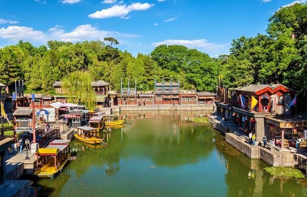 Suzhou market street w summer palace - pekin, chiny