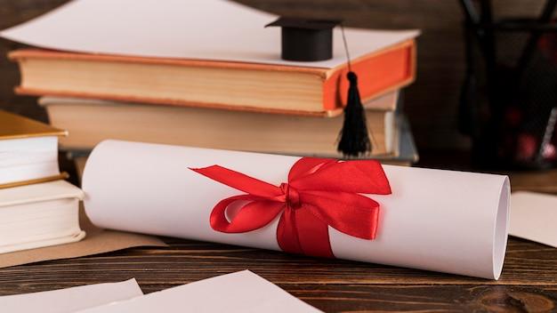 Świadectwo dyplomu edukacji zwinięte
