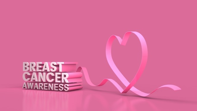 Świadomość raka piersi baner rendering 3d renderowanie 3d