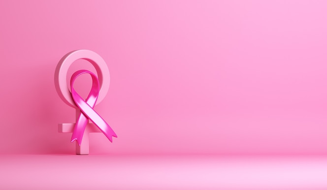Świadomość raka piersi z różową wstążką w tle