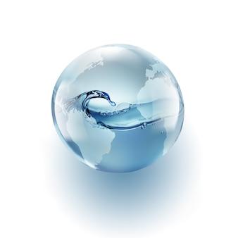 Świat świata z czystą wodą wewnątrz na białym tle