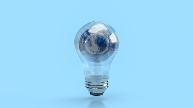 Świat w żarówkę do renderowania 3d eko koncepcji