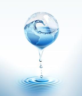 Świat z kapiącą wodą