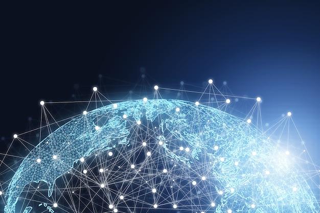 Świat z linią połączeń i świecącym światłem, globalne sieci innowacji biznesowych i technologicznych oraz koncepcja transformacji dużych zbiorów danych