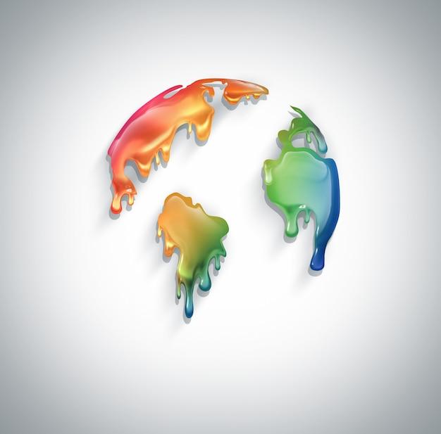 Świat z ociekającą kolorową farbą