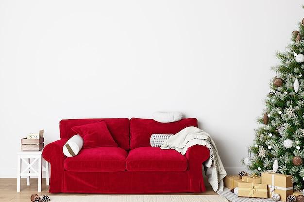 Świąteczna makieta wnętrza salonu czerwona sofa