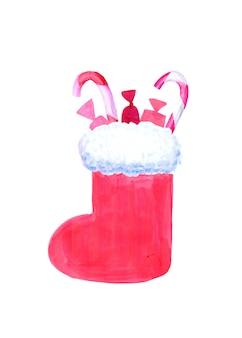 Świąteczna skarpeta z cukierkami. akwarela ilustracja na białym tle.