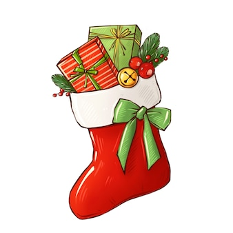 Świąteczna skarpeta z pudełkami prezentowymi ilustracja nowego roku