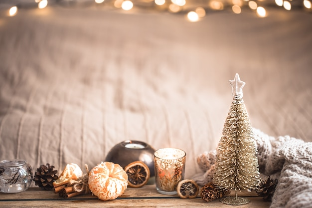 Świąteczna świąteczna przytulna atmosfera z wystrojem domu